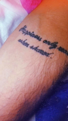 Aldo Mazzei's Tattoo of 'Happiness only real when shared'