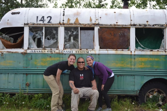 Emilee Quirion, Brian Straus, & Leah Moore at Bus 142 on July 29 2012