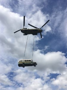 Bus 142 Under Alaska National Guard Chinook Helicopter