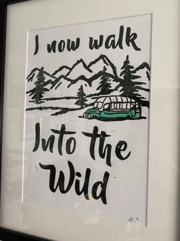 Craig Lester's Linoleum Cut Print of Into the Wild and Bus 142