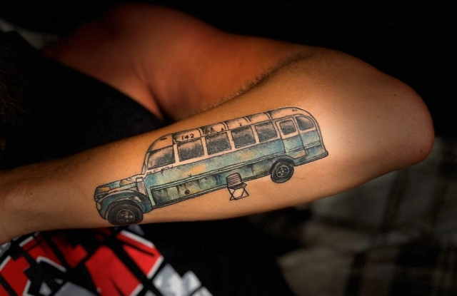 Jesse Salvacion's Bus 142 Tattoo by Russell Kelley