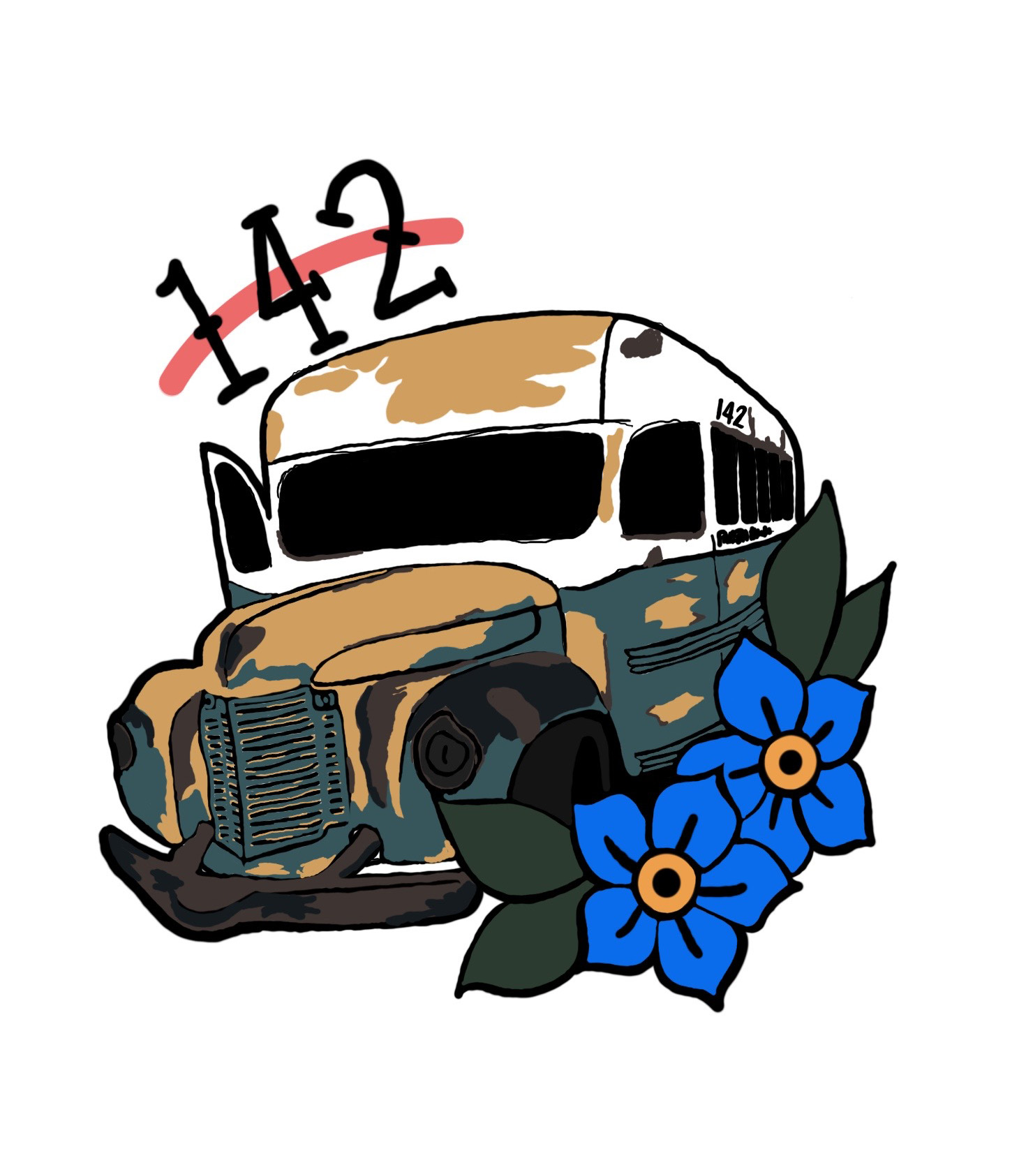 Justin Falke's Bus 142 Tattoo Design