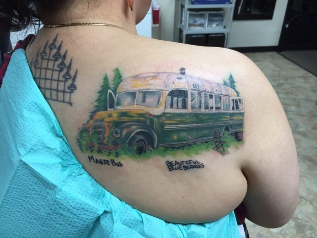 Maria Cuellar's Tattoo of Bus 142