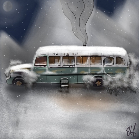 Mariam Dadunashvili's Digital Painting of Bus 142