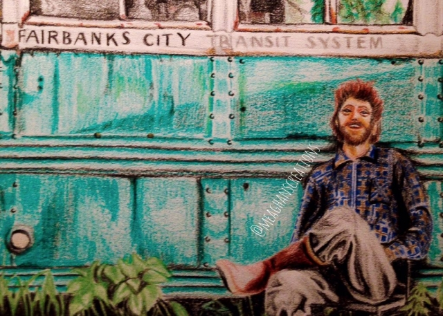 Meaghan Darwish's Painting of Christopher McCandless at Bus 142