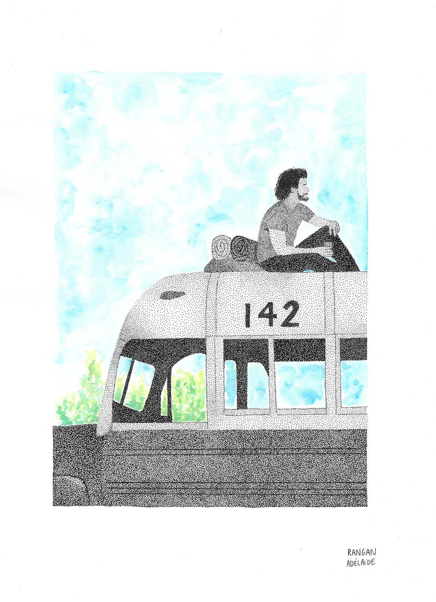 Rangan Adélaïde's Mixed Medium Artwork of ChristopherMcCandless & Bus 142