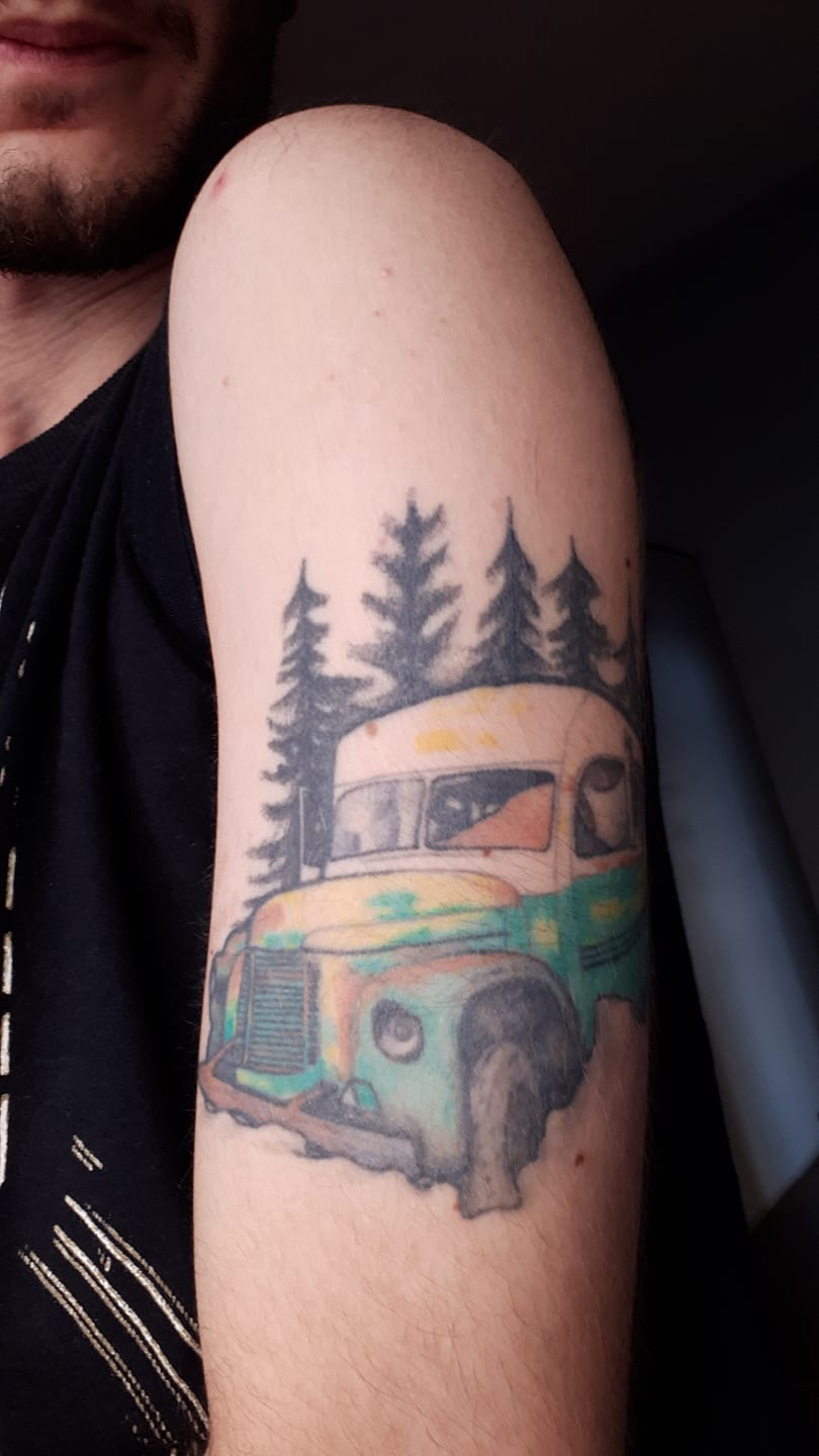 Thomás De Freitas Basile's Tattoo of Bus 142